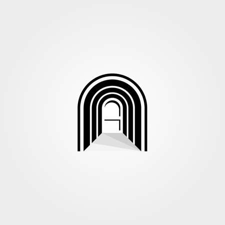 abstract door vector logo in the hallway curve letter n symbol illustration design