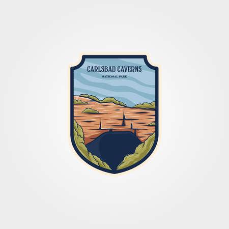 carlsbad caverns national park logo vector symbol design, U.S. national park cave emblem illustration design 向量圖像