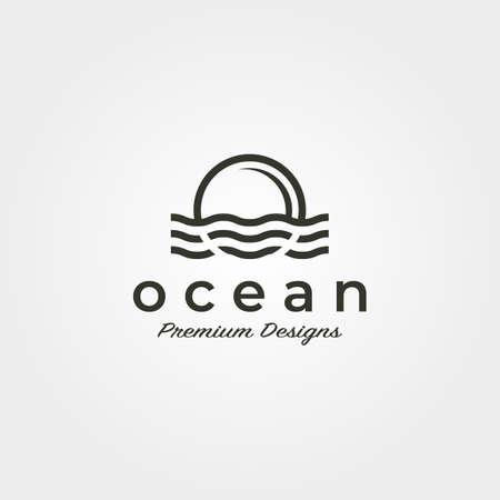 ocean wave sunset vector logo icon symbol minimalist illustration design 向量圖像
