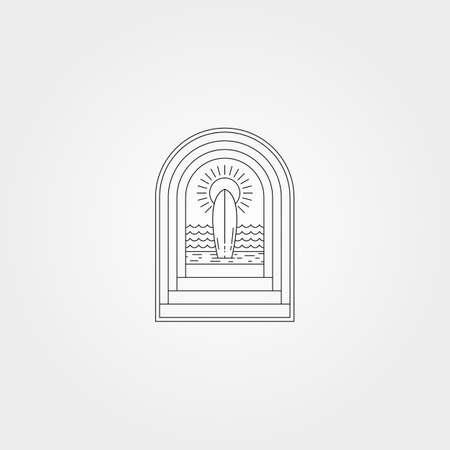tropical beach surf vector logo symbol with door line art illustration design