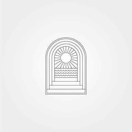door and ocean sunburst icon logo vector symbol minimal illustration design, line art sea logo symbol