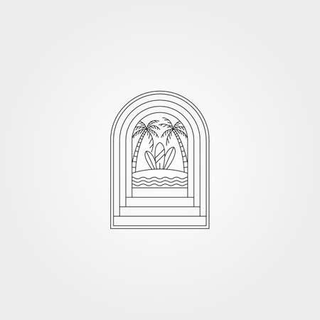 door with beach surf creative logo vector symbol illustration design 向量圖像