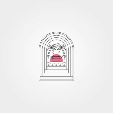 tropical door creative logo vector symbol illustration design, hammock and sunset view logo design
