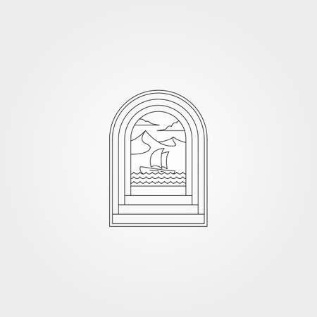 ocean door creative vector logo symbol illustration design, nature sea icon logo design in line art style