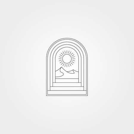 door vector icon logo design with line art mountain minimal illustration design