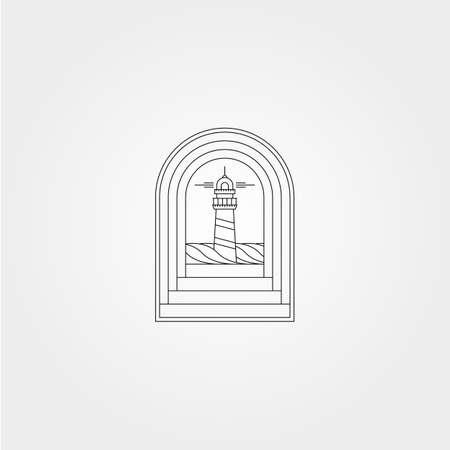 lighthouse view in door vector symbol illustration design