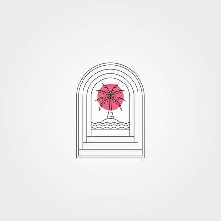 door and sunset palm tree vector logo symbol minimal illustration design, line art style