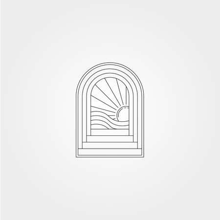line art door logo vector design with ocean wave icon symbol illustration design