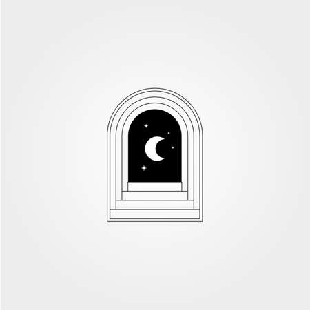 door hallway vector logo design with night view symbol illustration template design