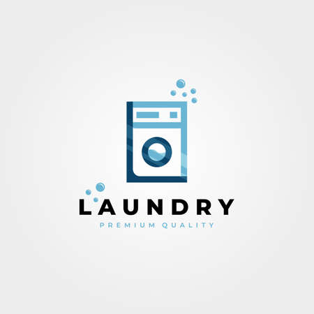 laundry wash machine vector logo icon illustration design, creative laundry letter L logo design 向量圖像