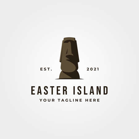 moai statue icon logo vector object illustration design, easter island landmark logo design 版權商用圖片 - 165810124