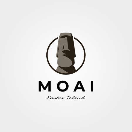 moai easter island logo vector vintage symbol illustration design