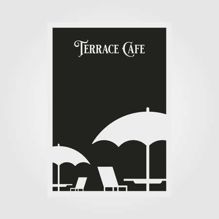 terrace cafe vector poster minimal illustration design, black and white poster design 向量圖像
