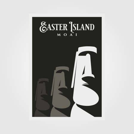 moai statue vector poster background illustration design, easter island national park travel poster design 向量圖像