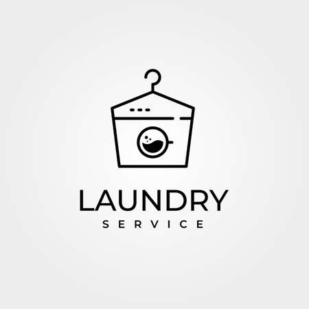 creative laundry vector with hanger symbol and wash machine illustration design, laundry line art style