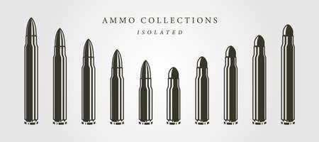 set of bullets ammunition object vector isolated illustration designs, vintage bullet designs 向量圖像