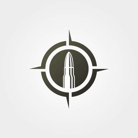 bullet on target icon logo vector vintage illustration design, ammunition with compass creative logo design