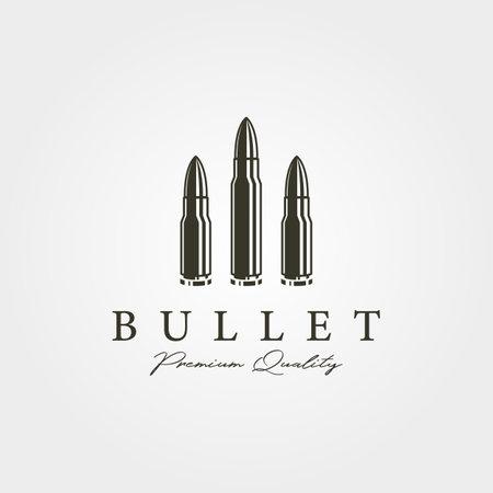 vintage bullets icon logo vector illustration design, cartridge object design