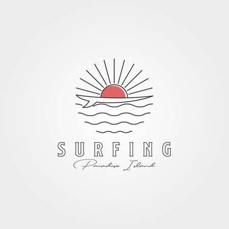 surf line icon logo vector symbol illustration design, surf and sunset logo minimal design