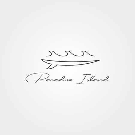 surfboard and wave line icon logo vector minimal illustration design