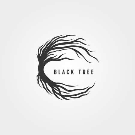 black tree silhouette vector symbol illustration design, vintage tree logo design 向量圖像