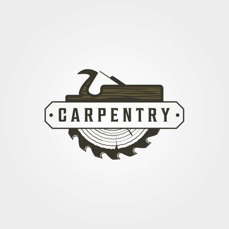 carpentry logo vector vintage symbol illustration design, woodwork emblem logo design 向量圖像