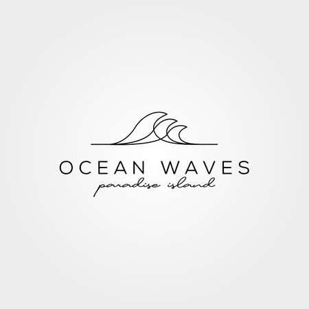 line art wave icon logo vector symbol minimal illustration design, ocean creative logo design