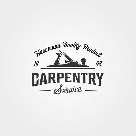 carpentry wood plane logo vector vintage symbol illustration design. vintage style logo