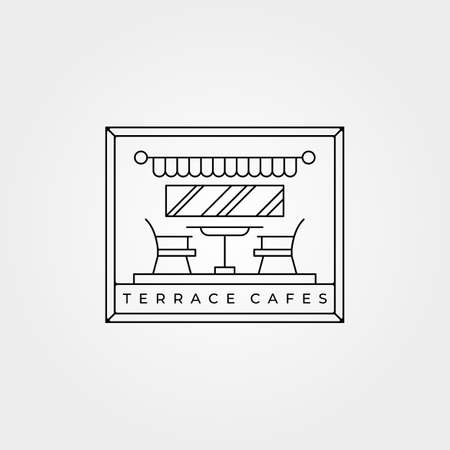 terrace cafes icon line art vector minimalist illustration design