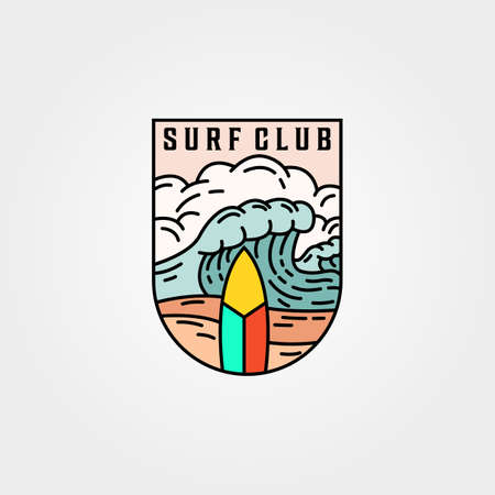Wave and surf club icon template vector illustration design