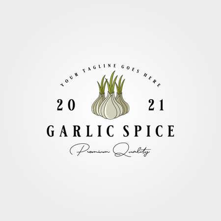 vintage garlic label logo vector illustration design, garlic spice template design 向量圖像