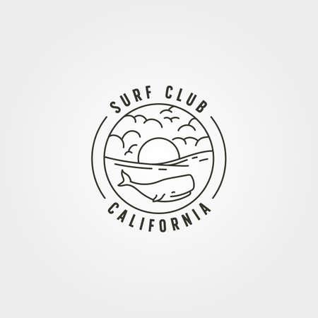wild wale on sea logo vector symbol illustration design, line art ocean landscape illustration design
