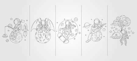 set of vector astronaut line art background illustration template design, space illustration template design