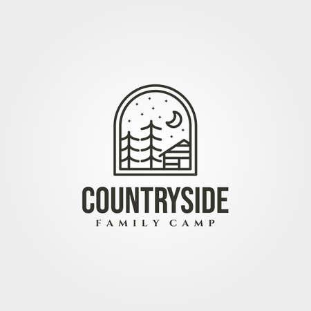 line art cottage house icon logo vector illustration design, cabin emblem logo design 向量圖像