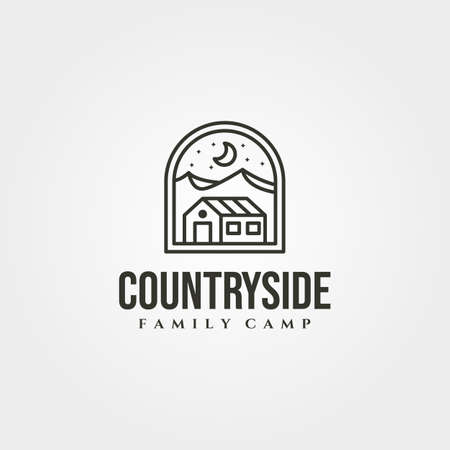 line art cottage house vector symbol illustration with mountain view logo design