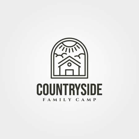 cabin house line icon logo vector symbol illustration design, minimal cottage logo design