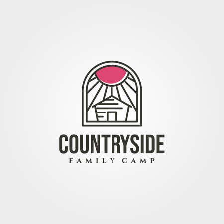 minimal cottage with sunburst icon logo vector symbol illustration design 版權商用圖片 - 167229430