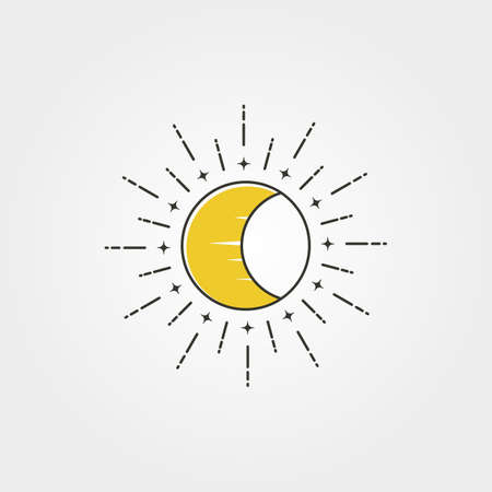 moon with sun creative logo vector icon symbol illustration design, minimal style 向量圖像