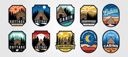 set of vector cottage outdoor logo emblem vector illustration design, adventure cabin camp badge vector design