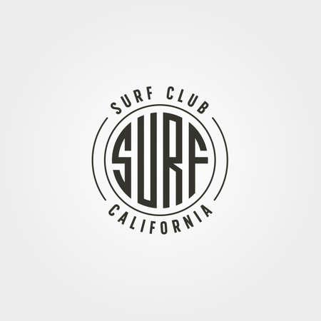 california surf club emblem logo vector vintage illustration design, surf typography logo design