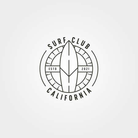 surfboard surfing line logo vector minimal illustration design, california surf club logo design 向量圖像