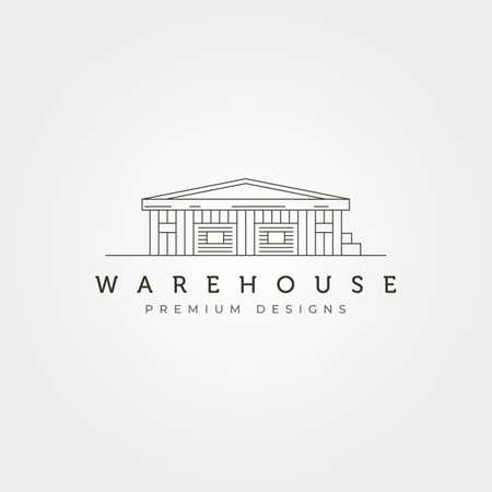 minimalist warehouse building logo vector illustration design, storage house logo design 版權商用圖片 - 167304045