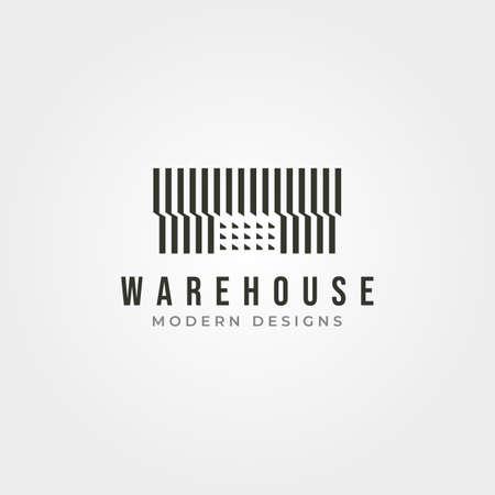 minimalist warehouse building logo vector illustration design, storage house logo design