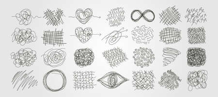 set of chaotic scribble line art vector abstract illustration design, freehand scribble art background