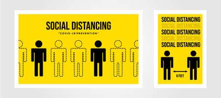 social distancing poster covid prevention illustration design, coronavirus epidemic background template
