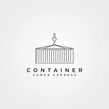 shipping container line icon logo vector symbol illustration design, crane holding container minimalist vector logo design 向量圖像