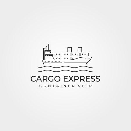 cargo ship container logo vector line art illustration design, cargo express minimalist on the sea vector logo design 向量圖像