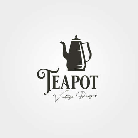 teapot vintage logo label vector illustration design, stainless steel teapot logo design 向量圖像