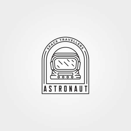 astronaut head label patch logo vector illustration design