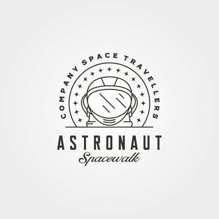 vintage astronaut helmet head logo vector symbol with stars illustration design